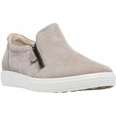 エコー レディース スニーカー シューズ Women's ECCO Soft 7 Out Side Zip Sneaker Warm Grey Smooth Leather/Nubuck