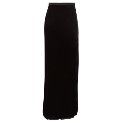 ニリ ロータン Nili Lotan レディース ロング・マキシ丈スカート スカート Azalea side-slit velvet maxi skirt Black