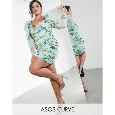 エイソス レディース ワンピース トップス ASOS EDITION Curve ruched mini dress with puff sleeves in green floral print
