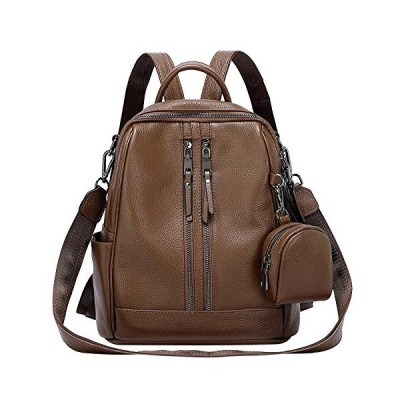 ALTOSY Women's Fashion Backpack Genuine Leather Ladies Rucksack Shoulder Bags with Coin Purse (S77, Brown) 並行輸入品