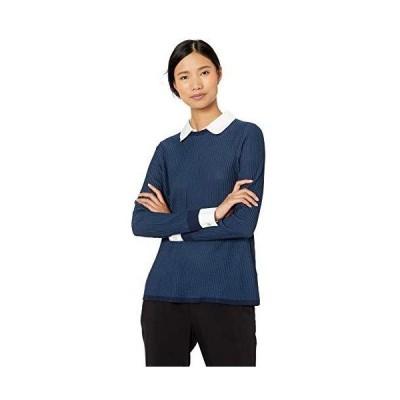 Foxcroft Women's Dakota Ribbed 2-fer Sweater, Navy, M並行輸入品 送料無料