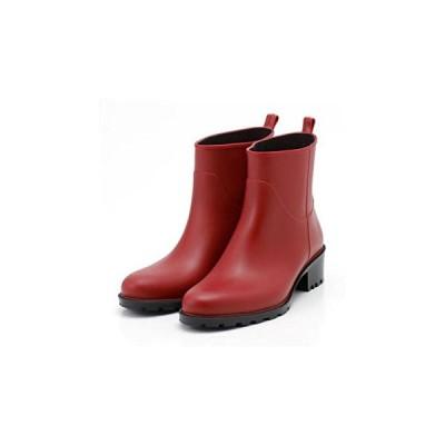 PATERNAZZI イタリア製ショートレインブーツ RED (レッド) 39サイズ 約24.5cm ファッション 靴 シューズ レインブー