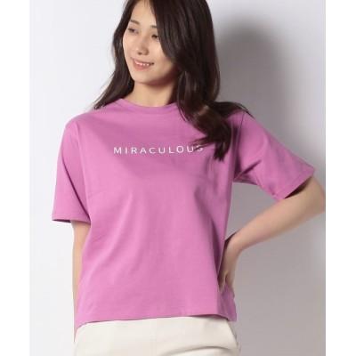 (Bou Jeloud/ブージュルード)コットンロゴシンプルTシャツ/レディース ピンク