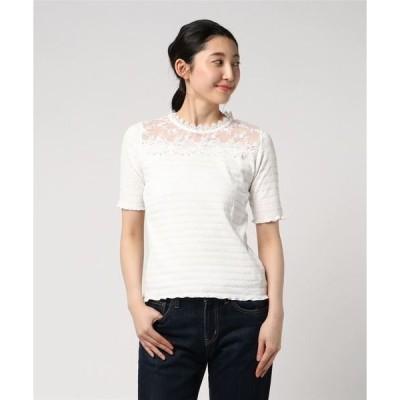 tシャツ Tシャツ シャーリング レース切替Tシャツ