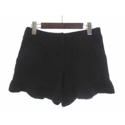 【中古】シンシアローリー CYNTHIA ROWLEY ショート パンツ ショーパン 2 M 黒 ブラック ウール混 タック フリル リボン 無地