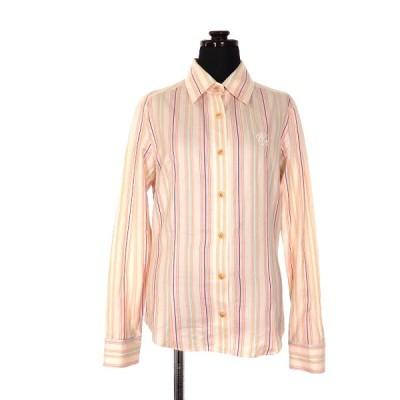 【中古】クレイサス CLATHAS マルチストライプ ロングスリーブシャツ ブラウス 胸刺繍 長袖 38 オフホワイト 白 SSAW レディース 【ベクトル 古着】