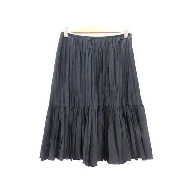 【中古】インディヴィ INDIVI プリーツスカート ひざ丈 38 黒 ブラック /YK レディース 【ベクトル 古着】