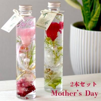母の日 2021 ハーバリウム 花束 カーネーション 2本セット レッド ピンク  赤 プレゼント 送料無料『花束 完成品2本set』