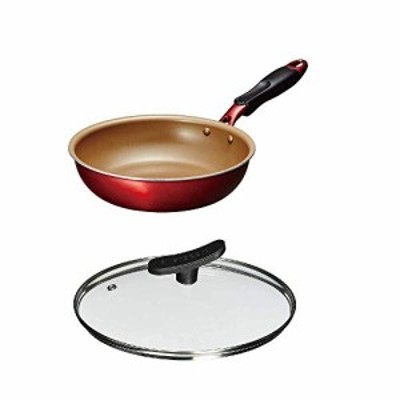 【新品】【セット買い】フライパン 22cm ワインレッド α &エバークック 鍋蓋 ガラスふた フライパン用 22cm
