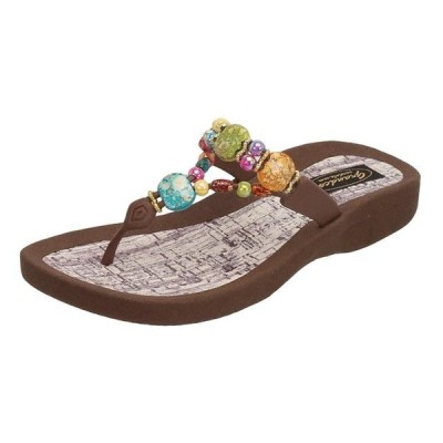 レディース 靴 サンダル GRANDCO Women's Marble Cork Thong Sandal Color: Brown Size: 8 (24770G-LD-BR-8)