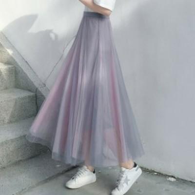 スカート レディース スカート チュールスカート シースルー ロングスカート かわいい マキシ丈 ウエストゴム 大きいサイズ フェミニン