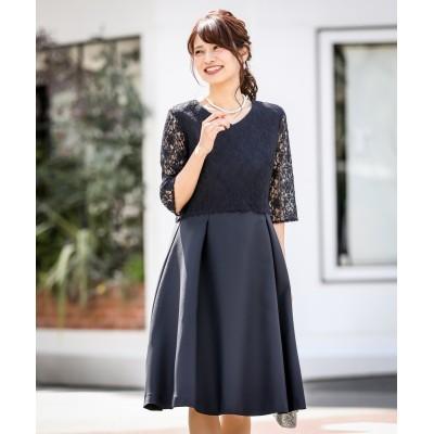 【結婚式・パーティードレス】レース使いタックデザインワンピースドレス<大きいサイズ> 【謝恩会・パーティドレス】Dress