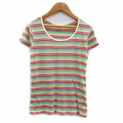 【中古】マカフィー トゥモローランド Tシャツ カットソー 半袖 ボーダー柄 マルチカラー 1 白 黄 紫 緑 レディース