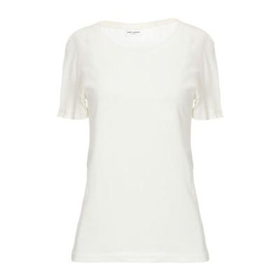 SAINT LAURENT T シャツ アイボリー XS コットン 50% / レーヨン 50% T シャツ
