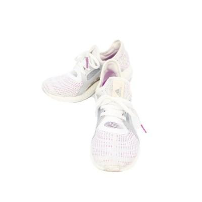 【中古】アディダス adidas スニーカー シューズ PURE BOOST X ウォーキング ニット メッシュ 23 白 紫 ホワイト BB4016 63 レディース 【ベクトル 古着】