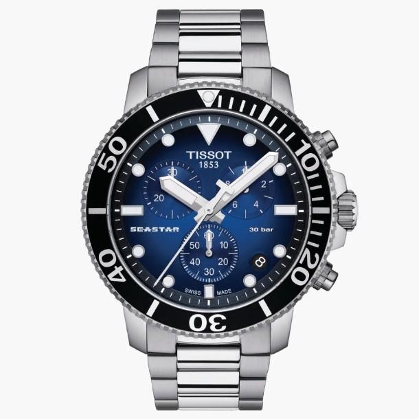 TISSOT天梭 T1204171104101 / Seastar 海洋之星 計時潛水錶 /  45.5mm