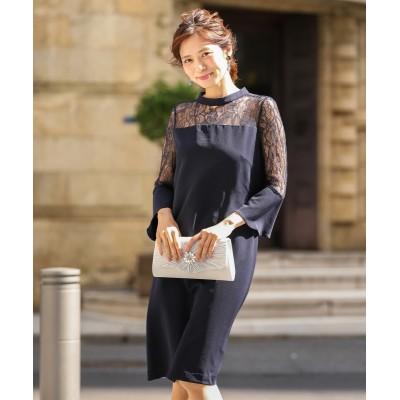 スタンドカラー袖レース使いサックワンピースドレス (ワンピース)Dress