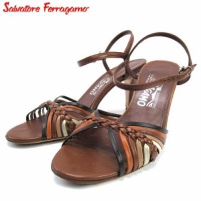 サルヴァトーレ フェラガモ サンダル シューズ 靴 レディース #4ハーフ 編み込み ブラウン Salvatore Ferragamo 中古 T16715