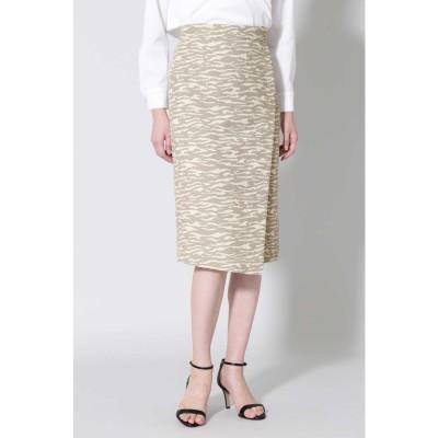 ◆ゼブラジャカードタイトスカート ベージュ×アイボリー1