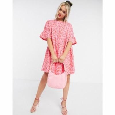 エイソス ASOS DESIGN レディース ワンピース ワンピース・ドレス mini smock dress with frill sleeve in red and pink floral print