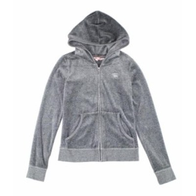 GLAMOROUS グラマラス ファッション トップス Juicy Couture Girls Gray Size 14 Velour Glamorous Embellish Sweater