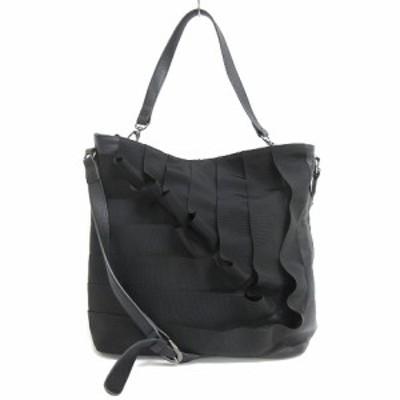 【中古】アツロウタヤマ ATSURO TAYAMA レザー ショルダーバッグ リボン 鞄 ブラック 210402O レディース