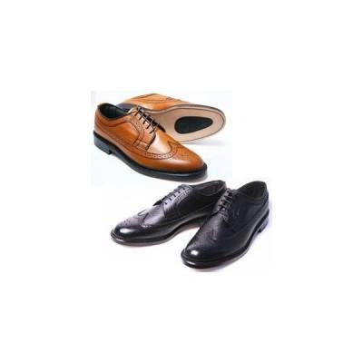 British Classic 本革 革底 3E 高級ビジネスシューズ メンズ ウィングチップ 5154 ブラック ブラウン ブリティッシュクラシック 革靴 紳士靴(24cm〜27cm)