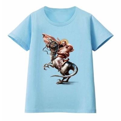 【恐竜 に乗る ジーザス】レディース 半袖 Tシャツ by Fox Republic