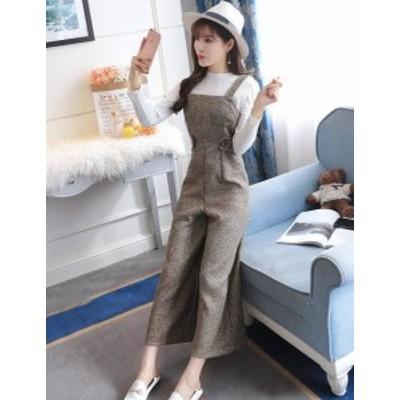 韓国 ファッション レディース ワイドパンツ オールインワン ハイウエスト 大きいサイズ 大人可愛い きれいめ カジュアル 秋冬