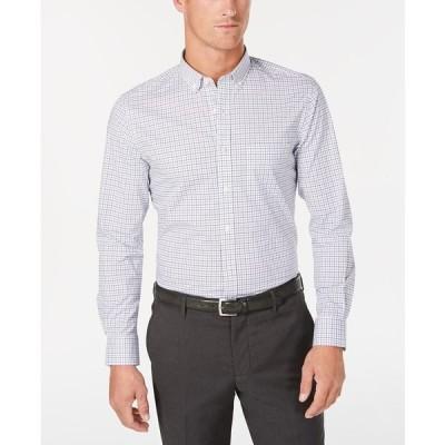 クラブルーム シャツ トップス メンズ Men's Stretch Micro-Windowpane Check Shirt,  Bright White