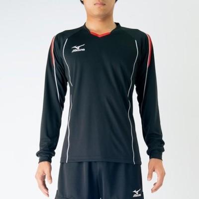バレーボールウェア ミズノ プラクティスシャツ(長袖)ブラック×フレイムオレンジ  V2MA6097 94