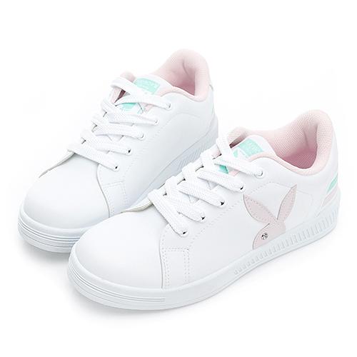 PLAYBOY New Classic 條紋魅力 兔兔小白鞋-白粉(Y7220)