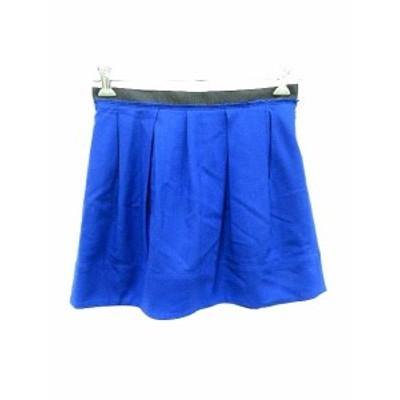 【中古】マカフィー MACPHEE トゥモローランド スカート フレア ミニ ウール 36 青 ブルー /YK レディース