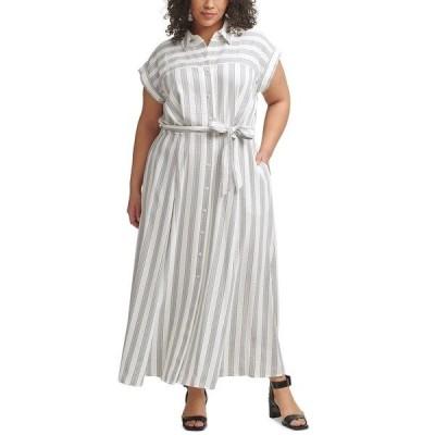 カルバンクライン ワンピース トップス レディース Plus Size Striped Gauze Shirtdress White/Black
