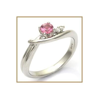リング 指輪 レディース プラチナ PT900 ピンクトルマリン ダイヤモンド D0.03 * かわいい おしゃれ 中古 ring 価格見直し