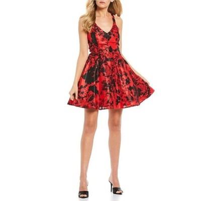 シティヴァイブ レディース ワンピース トップス Sleeveless Floral Print Bow-Back Fit-and -Flare Dress