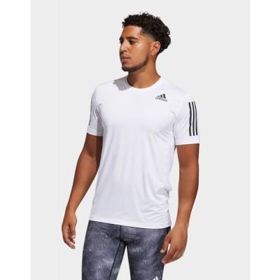 アディダス adidas メンズ Tシャツ トップス techfit 3-stripes fitted t-shirt white