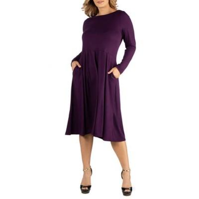24セブンコンフォート レディース ワンピース トップス Plus Size Midi Length Fit and Flare Pocket Dress