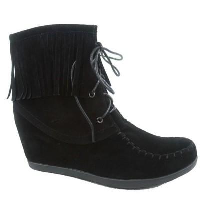レディース 靴 スニーカー Glady-84 Women's Fashion Fringe Lace UP Low Wedge Sneaker Booties Shoes