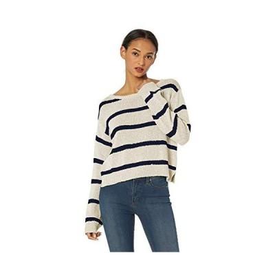 BB Dakota Womens sail Away Tape Yarn Striped Crop Sweater, ivory small並行輸入品