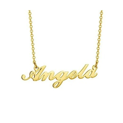 SISGEM Solid 10K 14K 18K Gold Custom Name Necklace for Women Girls Children Personalized Nameplate Customized Jewelry Gift for Birthday Vale