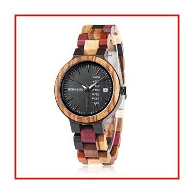 レディース 木製腕時計 カラフル 天然竹 曜日・日付表示 ハンドメイド カジュアルウォッチ 女性へのギ
