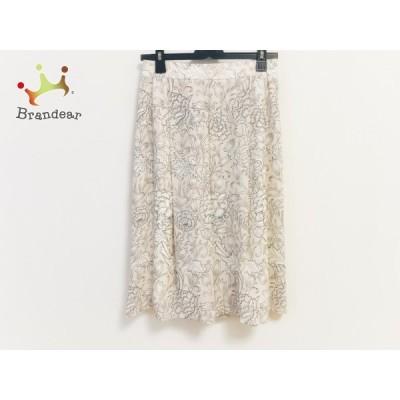 マッキントッシュロンドン スカート サイズ36 S レディース 美品 ベージュ×白×黒 花柄 新着 20201122