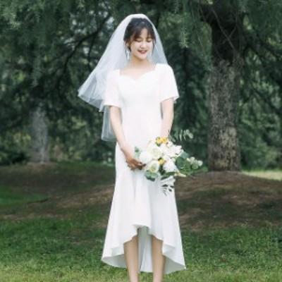 ウェディングドレス ミモレ丈 二次会 花嫁ドレス 結婚式 ドレス ワンピース パーティードレス ミモレ フィッシュテール 袖あり 大人 シン