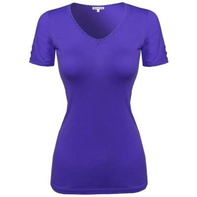 レディース 衣類 トップス FashionOutfit Women's Solid Cap Sleeve V neck Tee Shirt in Various Colors グラフィックティー