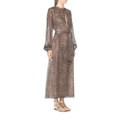 ワンピース タマラメロン Tamara Mellon Silvery Gray Brown Leopard Keyhole Maxi Dress 0 4 6 8