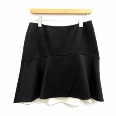 【中古】アドーア ADORE スカート ひざ丈 フレア 36 黒 ブラック /NT19 レディース