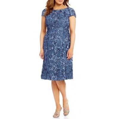 アレックスイブニングス レディース ワンピース トップス Plus Size Cap Sleeve Rosette Lace Dress