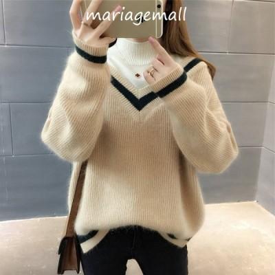 ニットセーター レディース ニット重ね着 ハイネック3色 長袖 ゆったり 着やすい セーター カジュアル人気 秋冬