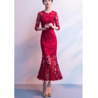 マーメイドドレス 袖あり パーティードレス ウエディングドレス ロングドレス 結婚式ドレス 二次会 披露宴 演奏会 発表会 ピアノ 大きいサイズ イベント用